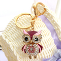 2017 new colorful Crystal owl pendant keychain gold plated key chain ring Women bag charm bag pendant porte clef Christmas gift