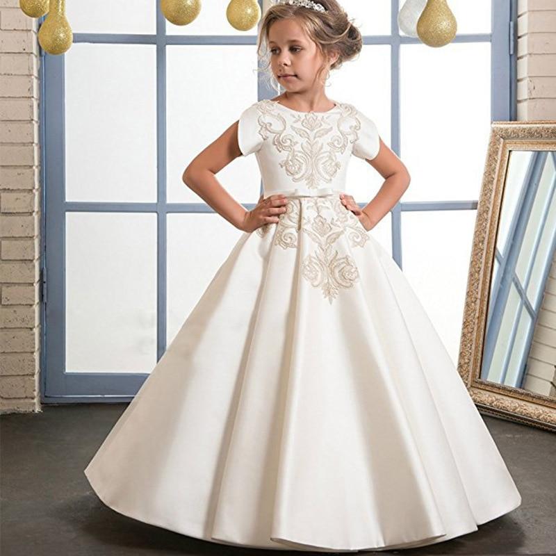 Kids Bridesma Prom Costume Flower Teen Girls Holidays Wedding White Long Dress for Party Birthday Halloween Princess