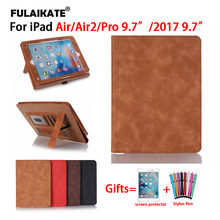 """FULAIKATE Retro Handle Flip Case for iPad Air Air2 Pro 9.7 inch Stand Business Back Cover for iPad 2017 9.7"""" Soft Coque Funda"""