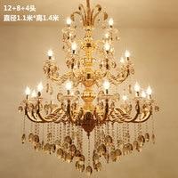 Vintage Rustic Golden Large Size Crystal Chandelier Lighting Candle Chandeliers Pendant Lamp Hanging Light for Dining Room