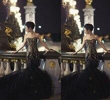 Robe De Soiree elegante lange Abendkleid Scoop Neck bodenlangen Anwendungen Tulle Nixe-Abschlussball 2016