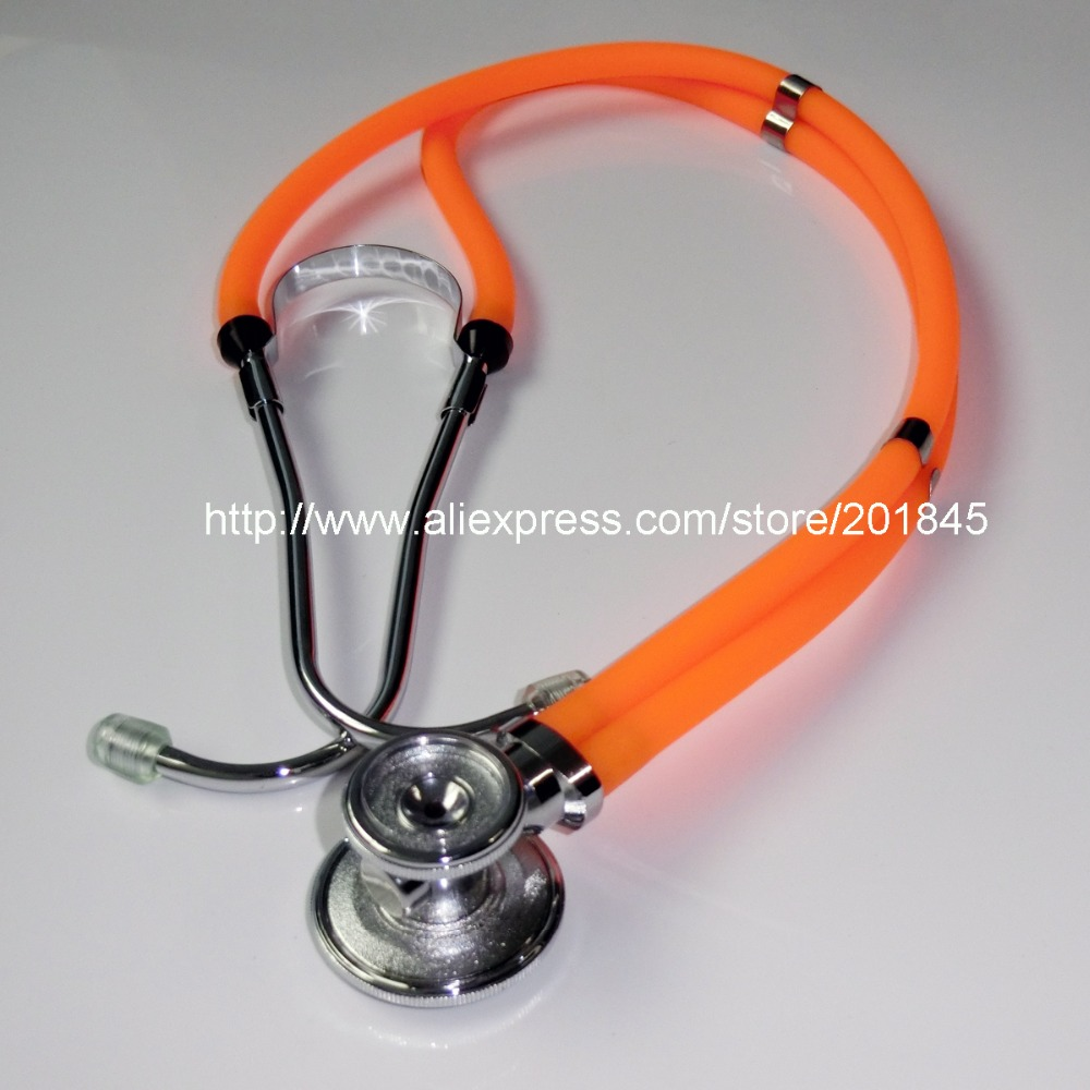 Fluorescent orange Multifunction dual-headed Professional NEW Medical Clinical Classic Doctor Stethoscope health care professional medical double headed stethoscope doctor use stethoscope
