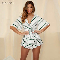 yinlinhe Green Striped Playsuit Summer Overalls For Women Lace Up Backless Short jumpsuit women boho ruffles rompers outfit 984