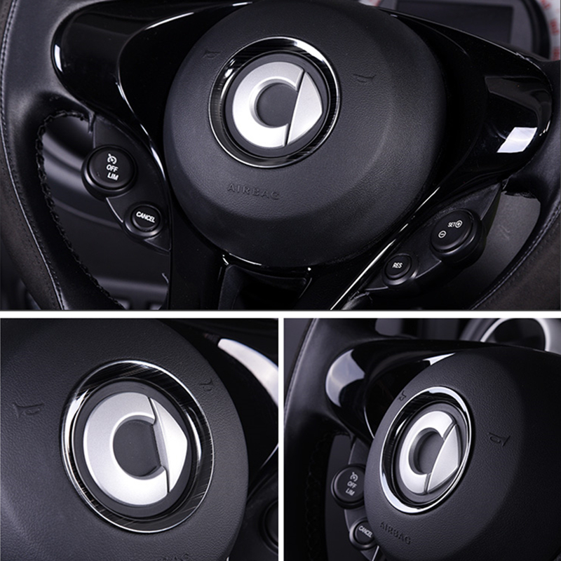 Stainless Steel Steering Wheel Panel Center Cover For New Smart 453 Fortwo Forfour Decorative Metal Ring Auto Parts Car Styling