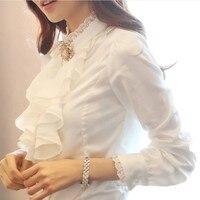 Fashion Spring Professional Temperament Blouse Long Sleeved Chiffon Shirt Lotus Leaf Shirt High Quality Wholesale Custom