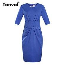 Tonval 5XL 6XL Plus Size Midi Work Dress Elegant Office Women