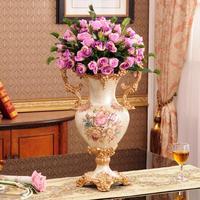 European vase ornaments living room luxury ears American retro resin decoration flower dryers housewarming gifts