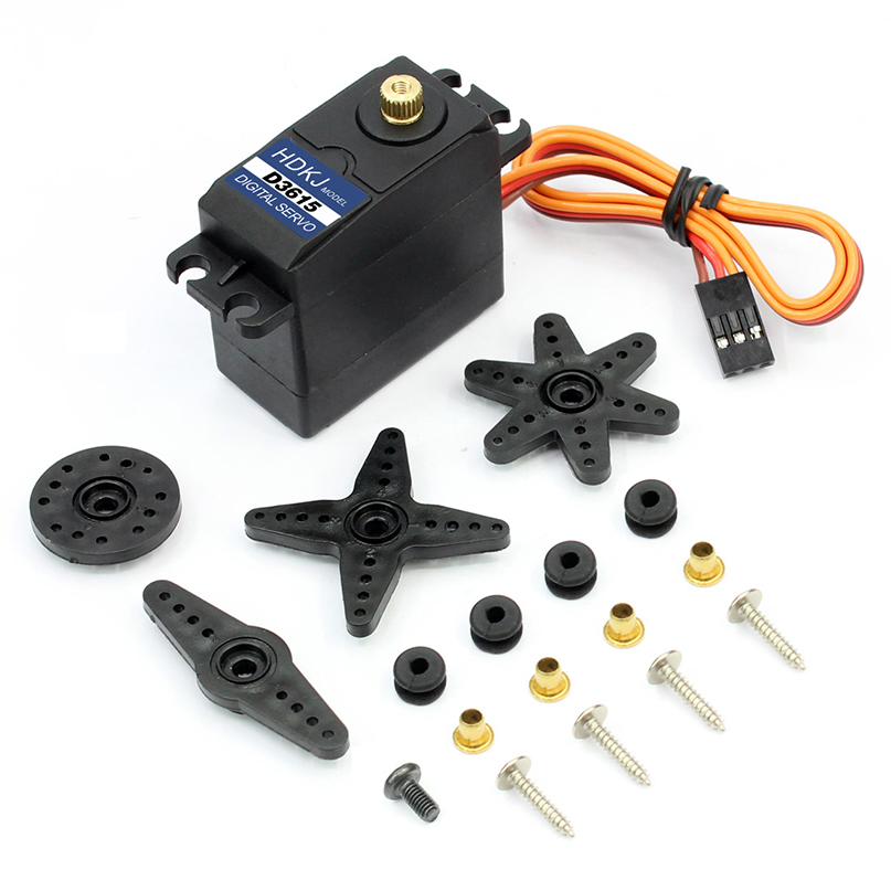 HDKJ D3615 56G Torque 15kg Metal Gear Digital Standard Servo 180 Degree Rotation 4.8v-7.2v for DIY RC Car Boat Robot 1x free shipment original factory high torque servo 15kg ds3115 servo metal gear digital standard servo for rc car boat plane