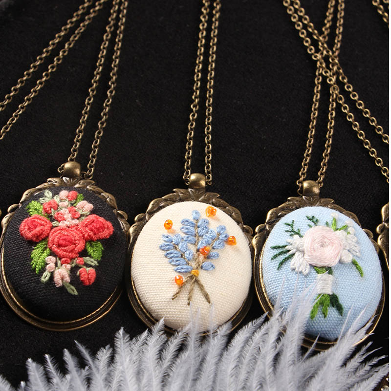 DIY Flower Embroidery Kits Of Necklace Handmade Needlework Floral Cross Stitch Set With Embroidery Hoop Friend Gift Home Decor
