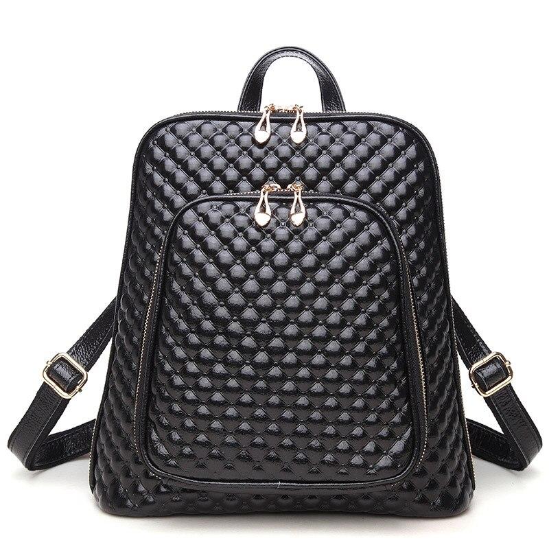 2018 New Plaid Pattern Women s Backpack Genuine Leather Female Shoulder Bag Girl s Simple Schoolbag
