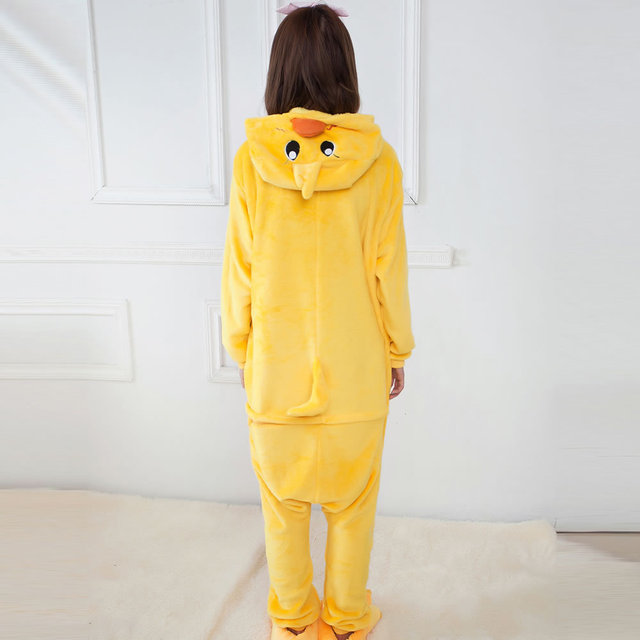 Pajamas Winter Women Adult Animals Sleepwear Hooded Unisex Cartoon Fashion Clothing chick Flannel Pajama Sets Animal Pajama 1