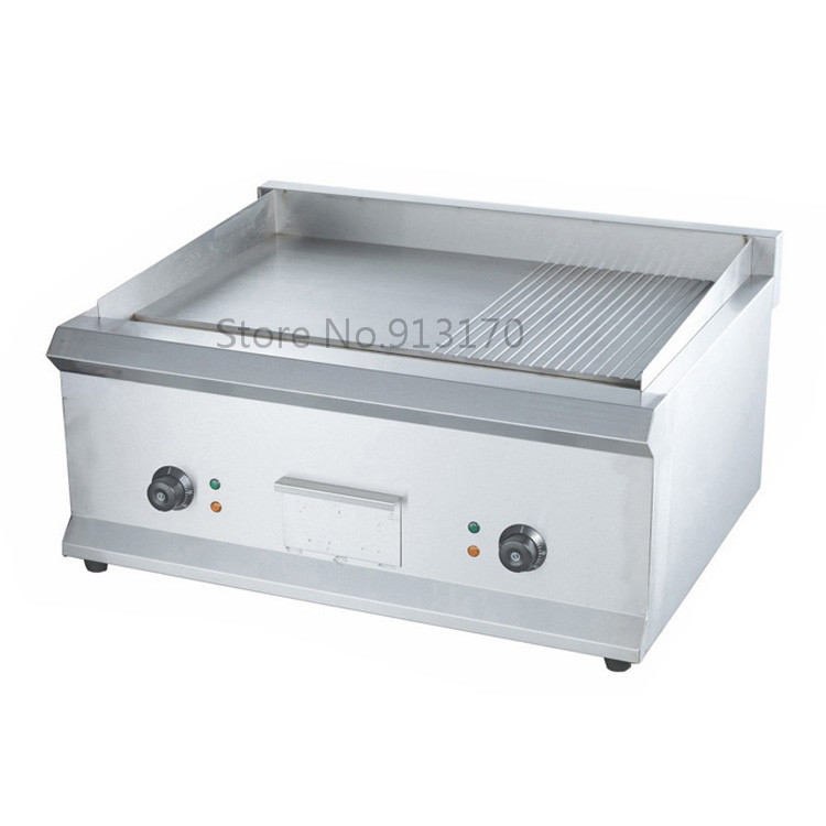 Commercial Electric Griddle Barbecue Griddle Machine with Half Flat Plate Half Groove Plate Double Temperature Controllers