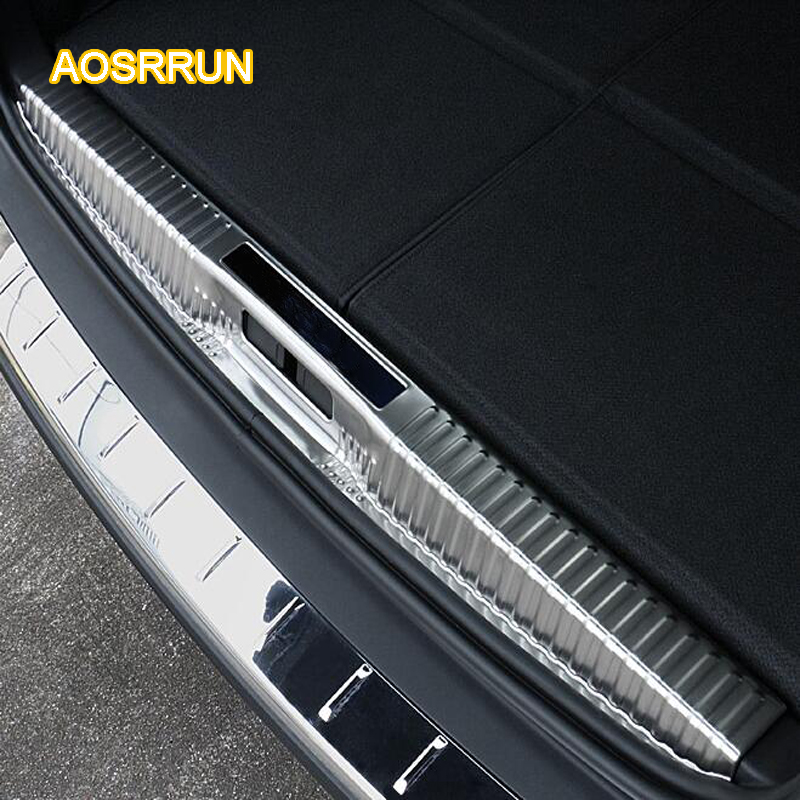 AOSRRUN After the stern door of the stainless steel car, the back of the guard plate Cover Car accessories FOR Peugeot 5008 2017 устройство для мойки авто the essence of the car