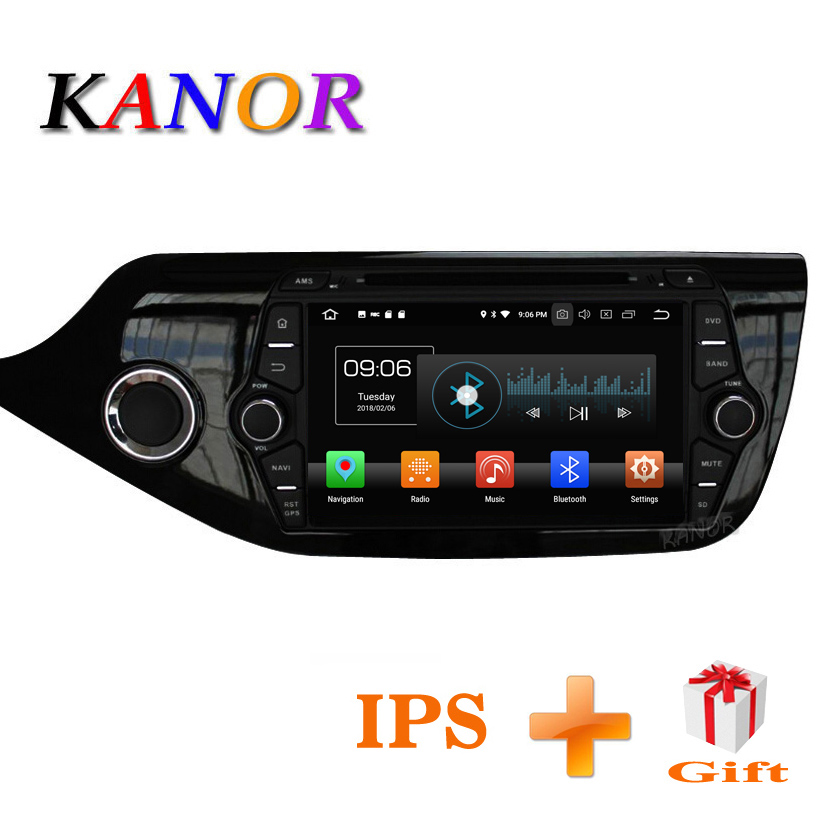 KANOR Android 8.0 IPS Octa core 4 + 32g Lecteur Multimédia De Voiture Pour KIA Ceed 2013 2014 2015 Audio radio Headunit 2din Android Radio