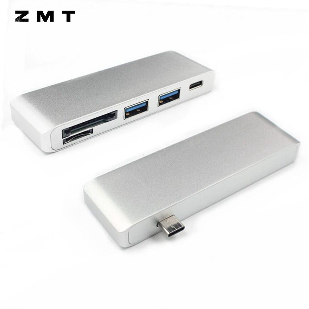 5 Port Type-C to Dual USB 3.0 TF Micro SD Card Reader Type C HUB Adapter Charger for Apple MacBook Retina TypeC Combo 2 USB3.0