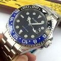 Мужские часы Bliger BL6  черные  с синим циферблатом и синим керамическим ободком  43 мм  автоматическое движение