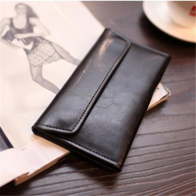 Hebilla magnética de cuero genuino largo de las mujeres de la carpeta del embrague de las mujeres de la vaca de cuero monedero billetero de La Moneda titular de la tarjeta de crédito calidad carteira