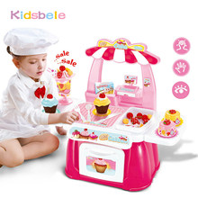 Kids Pretend Toys Cake Shop Mini Fast Food Shop Role Simulation Pretend Play Set Cash Food Kitchen High Quality Plastic Toy(China)