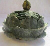 Китайский старая бронза золотом золоченой резной Лотос курильница/Азиатский Антиквариат из металла Кадило