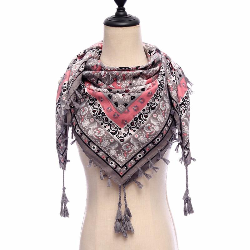 2018 new women scarf vintage Ethnic style shawl wrap print tassels square scarves top quality bufanda mujer foulard bandana