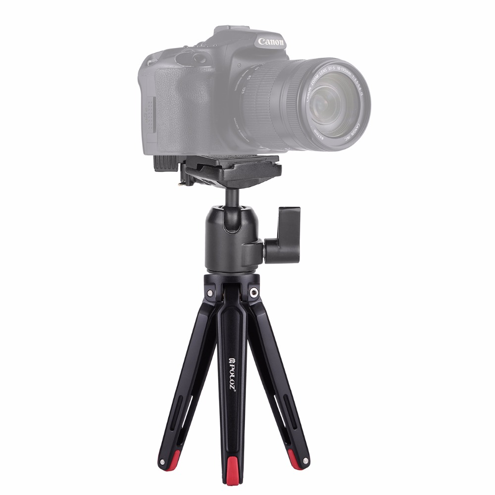 PULUZ Mini Portable Aluminum Alloy Tripod With Ball Head Gimbal Camera For Gopro Nikon Canon Sony DSLR Cameras
