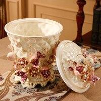 Из европейской керамики мусорный бак бытовой большой американский ретро гостиная для кухни ванной спальни хранения баррель с крышкой LO9182336