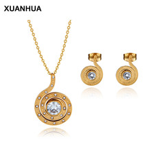 XUANHUA 2019 Snail Spiral Shape New Fashion Necklace Earrings Jewellery Women Party Ladies Gold Titanium Steel Jewelry Sets