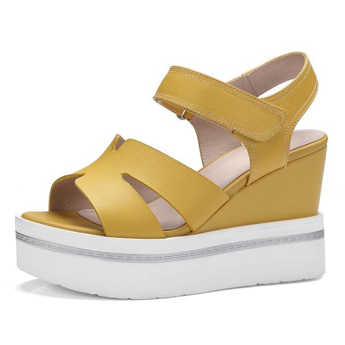 Full Grain Leather 2017 Summer Women's 10cm Wedges heel sandals ladies Platform (White, yellow) Hook & Loop Shoes for women phyanic 2017 summer women sandals platform wedges sandals hook