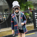 Girls Children's Wear Spring Autumn New Korean Plaid Long-sleeved Kids Coat Clothing Green Yellow