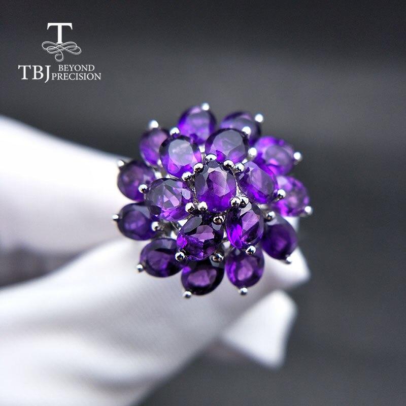 TBJ Rings in 925 sterling silver fine jewelry deep color african amethyst flower shape best nice