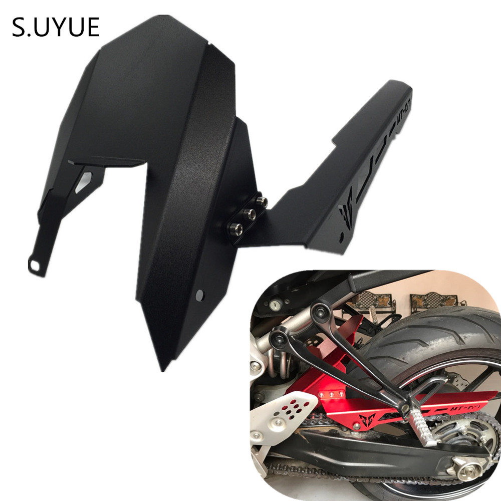 S.UYUE Motorycle Chain Guard Cover CNC Aluminum Rear Tire Hugger Fender Mudguard For Yamaha FZ07 FZ-07 MT07 MT-07 mt 07 motoo for yamaha mt07 mt 07 2013 2017 fz07 2015 2016 2017 cnc aluminum rear tire hugger fender mudguard chain guard cover