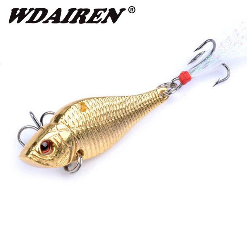 1 Uds. De Señuelos de Pesca vibratorios de 50mm y 14,5g, señuelos de metal, dorado y plateado con gancho de plumas, wobblers para buceo profundo, aparejos de pesca