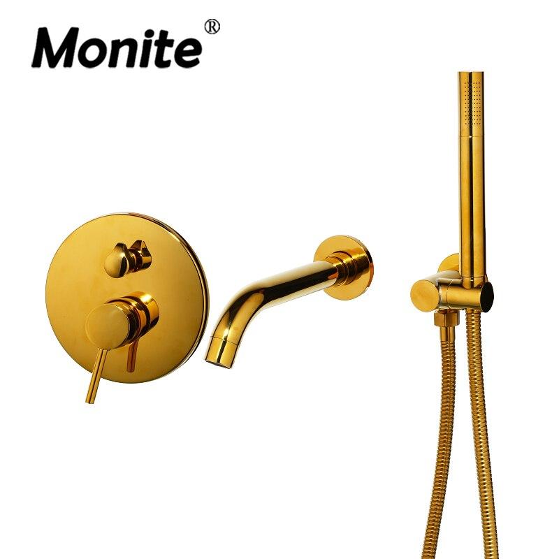Luxury Golden Plated Wall Mounted Hand Shower Bathroom Bathtub Basin Sink Brass Faucet Mixer Taps Gold