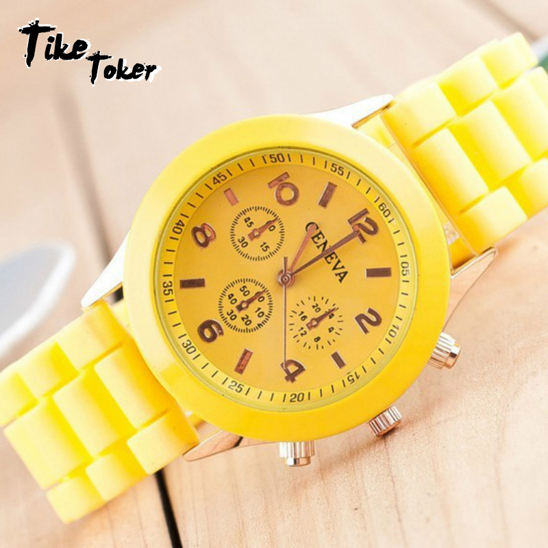 TIke Toker Luxury Brand Silicone Quartz Watch Women Men Ladies Fashion Bracelt Wrist Watch Wristwatch Relogio Feminino Masculino