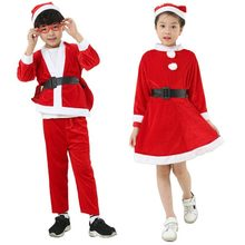 Cute Boys Girls Christmas Costume Princess Girls Red A-line Mini Dress Kid Boys Santa Claus Suit Xmas Cosplay Clothing 2018(China)