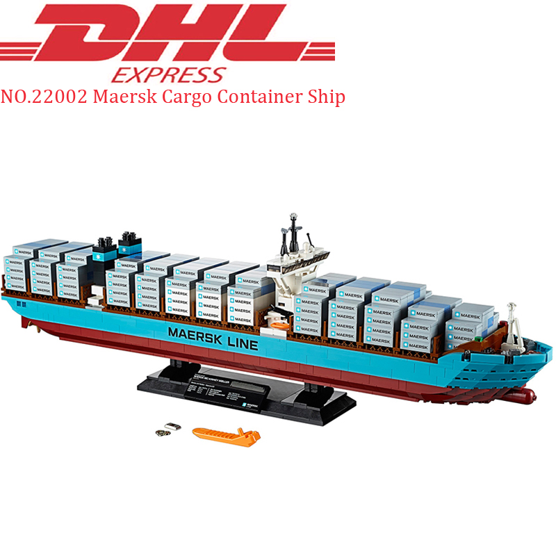 Lepin 22002 1518Pcs Technic Maersk Cargo Container Ship Sets Compatible 10241 Educational Building Blocks Bricks Toys Model Gift