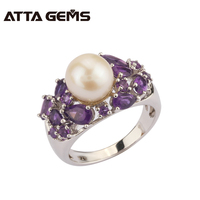 Natural Freshwater Pearl Amethyst Silver Ring Women Round 8 5mm Natural Amethyst Purple Quarts Special Design