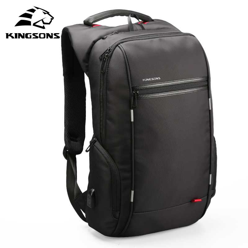 все цены на Kingsons 15 inch Laptop Backpacks USB Charging Anti Theft Backpack Men Travel Backpack Water Repellent School Bags Male Mochila
