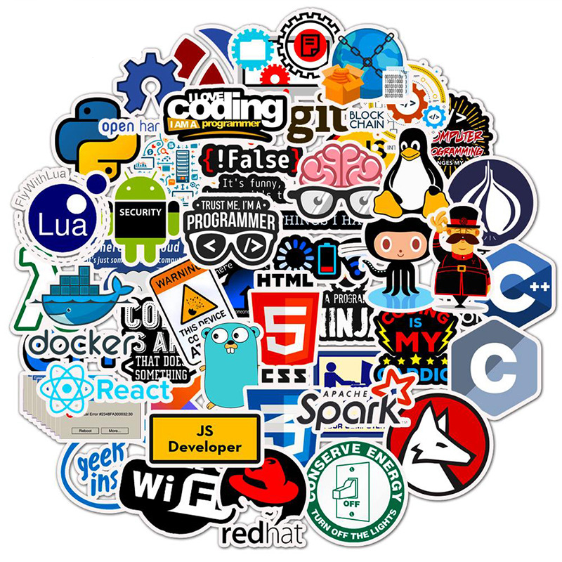 50 Pcs Internet Java Sticker Geek Programmer Php Docker Html Bitcoin Cloud C++ Programming Language For Laptop Car DIY Stickers