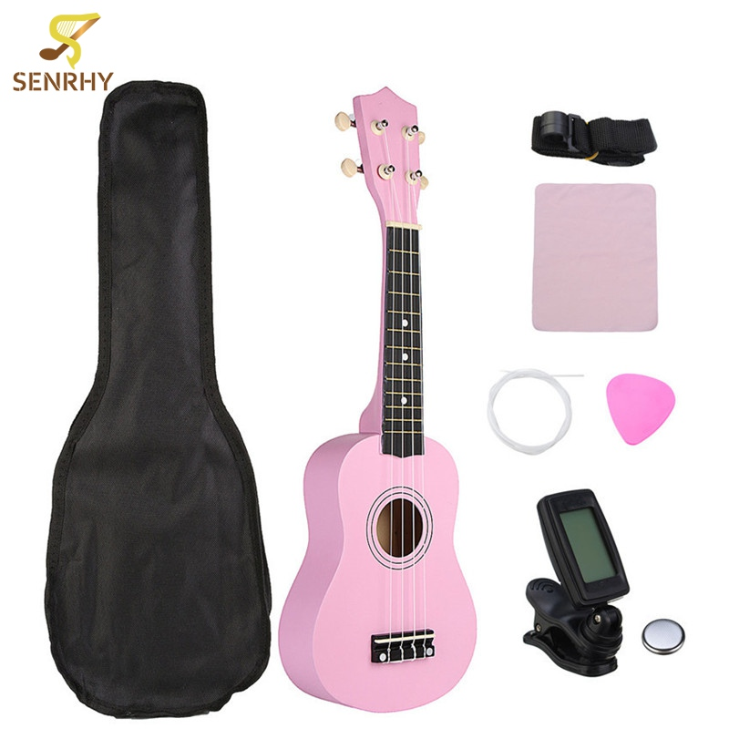 21 Pink Soprano Basswood Ukulele Uke Hawaii Bass Guitar Guitarra Musical Instruments Set Kits+Tuner+Strings+Strap+Case 26 inch mahogany soprano ukulele combo bass guitar guitarra musical instrument set for beginner with kit strap bag picks string