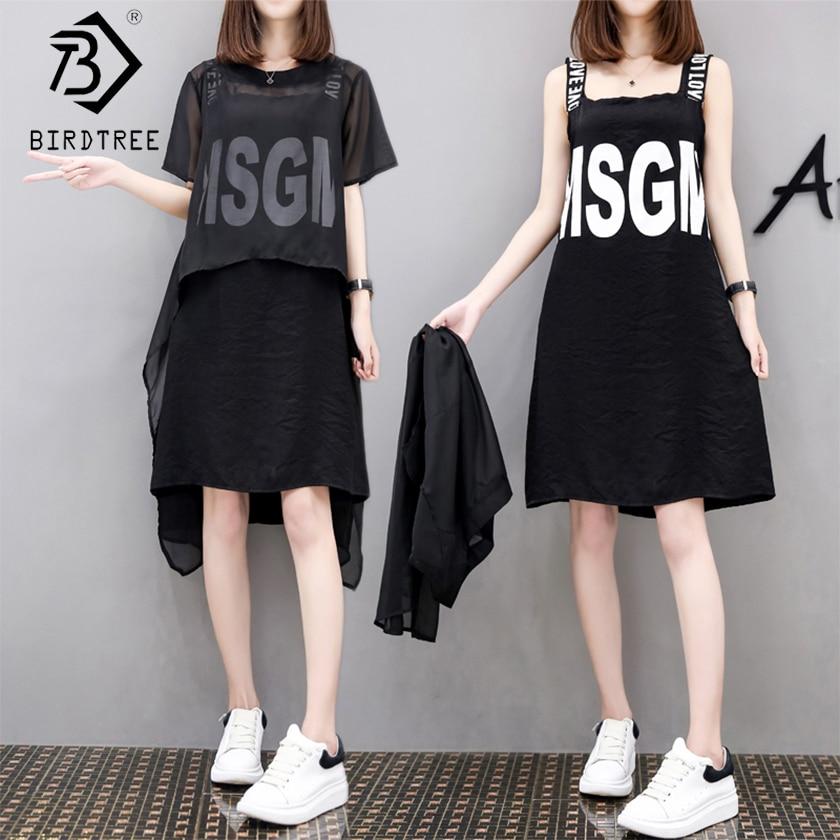 New Arrival Women's Fashion 2 Piece Sets Elegance O-Neck Short Sleeve Chiffon Tops Letter Sleeveless Above Knee Dress S8N701Q