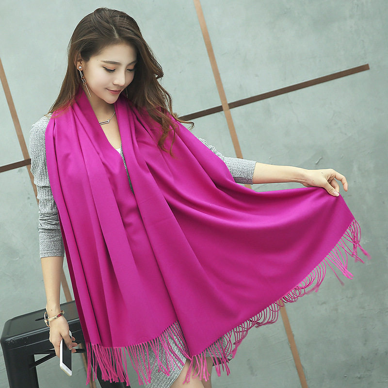 Women's Cashmere scarf Winter Pashmina Solid Woman Fashion Scarves&Shawl Lady's Knit Shawl red Hijabs long Scarf Wraps YR001
