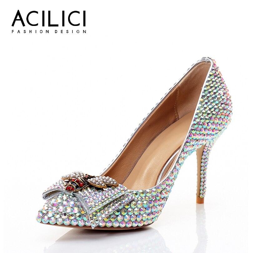 Alto Mujeres Genuino Tacón Dedo Diamante Cuero Boda Bombas Zapatos Puntiagudo Colorful Mariposa Del Pie De nudo xqP7fw0pO