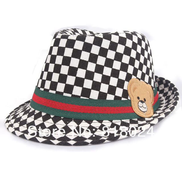 a70d4d5cb8a 10pcs lot Lovely Bear Black White Plaid Kids Fedoras Children Hat Dicers  Baby Boys Girls