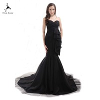 Eren Jossie Competitive Price Black Taffeta Evening Dress Banquet Gown Mermaid Sweep Train Strapless Women Dress