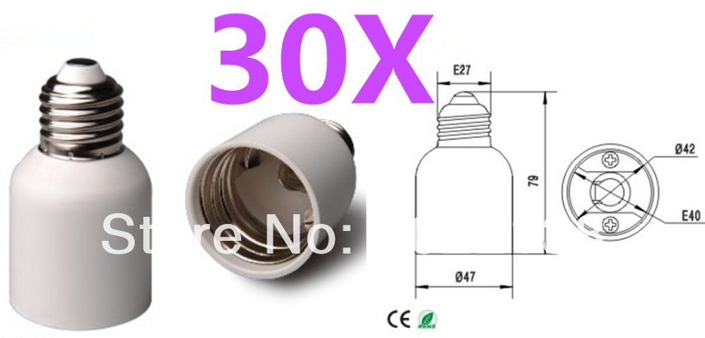 30pcs E27 to E40 LED socket lamp Base bulb base lamp holder LED Light Holder Converter Free Shipping With Tracking No.