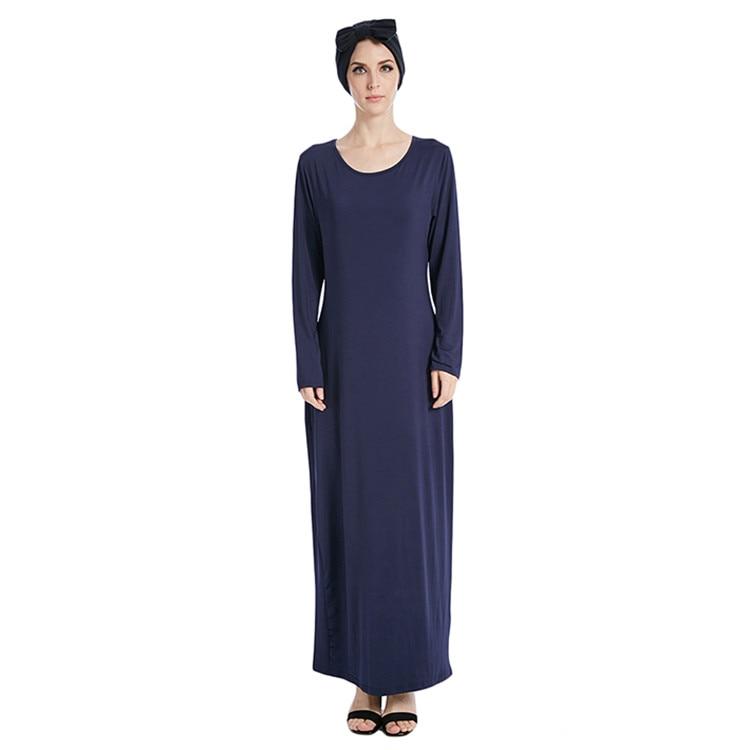 Casual Muslim Full Abaya Elastic Maxi Dress Inner Dresses Cardigan Long Robe Gowns Middle East Ramadan Worship Service Islamic