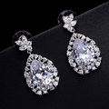 DOKOL Water Drop Cubic Zirconia Earrings for Wedding White Gold Plated Elegant Bridal Earring Women bijoux DKE0137