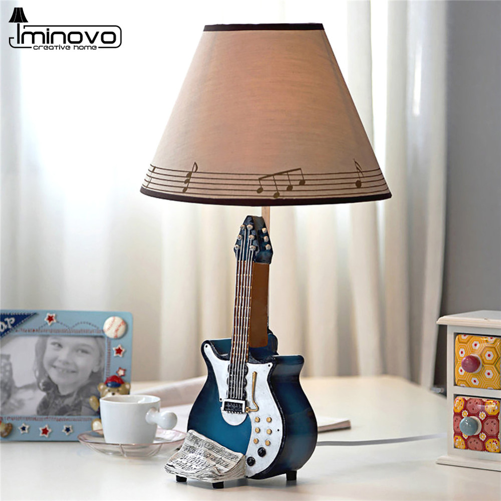 IMINOVO Dimmable Desk Lamps Guitar Music Bell Home Decoration Table Lamp For Children Reading Book Lighting Romantic Night Light born pretty 13 rolls 1mm matte glitter nail striping tape line manicure multi color nail art decoration adhesive stickers