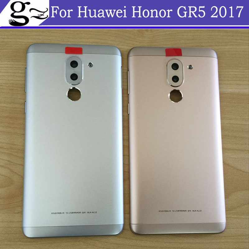 With Back camera glass Back Battery Housing Door Assembly+Power Volume Button For Huawei Honor <font><b>GR</b></font> <font><b>5</b></font> <font><b>2017</b></font> battery Back Cover Case image